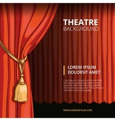 Theater stage with a red curtain vintage vector