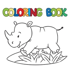 Coloring book of little rhino vector