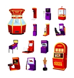 Game machine icons set vector