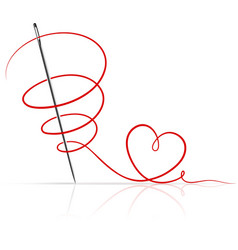 Sewing needle with red thread vector