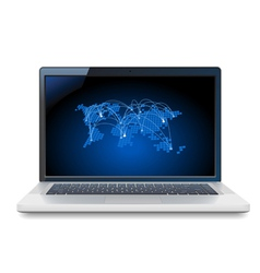 Laptop with world map vector