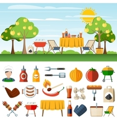 Barbecue picnic icons compostion banners vector