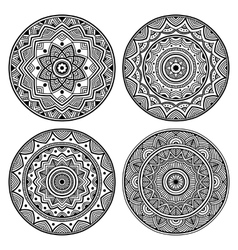 Black circle mandala set vector