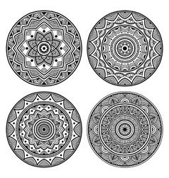 black circle mandala set vector image vector image