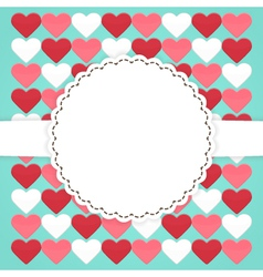 Blue card template with pink red white hearts vector