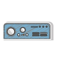 Blue striped rectangle game console with buttons vector