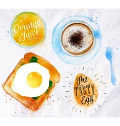 Breakfast toast egg juice vector image