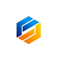 business shape technology logo vector image vector image