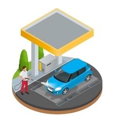 Car wash specialist in uniform washing sedan car vector image vector image