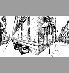 City hand drawn street sketch vector