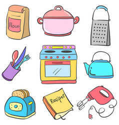 Collection kitchen equipment colorful doodle vector
