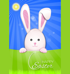Cute easter bunny on a sky blue background easter vector
