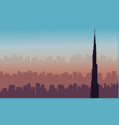 Dubai skyline with burj khalifa landscape vector