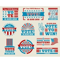 Encourage voting USA 2016 labels and vector image