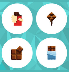 Flat icon sweet set of delicious cocoa shaped vector