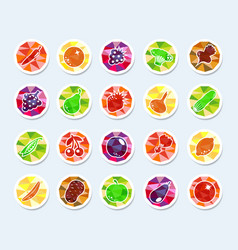 fruit and vegetables icons vector image vector image