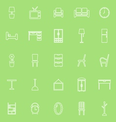 Furniture line icons on green background vector