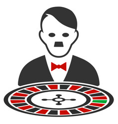 Hitler roulette croupier flat icon vector