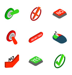 Interface buttons yes no icons isometric 3d style vector