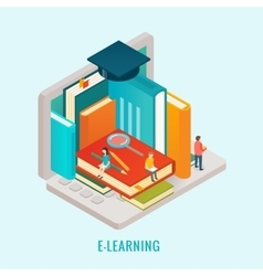 Isometric Education e-learning concept vector image vector image