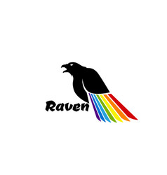 Logo black raven with colored wing vector