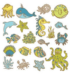 Marine life doodles vector image vector image