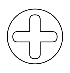 Monochrome contour with symbol cross in circle vector