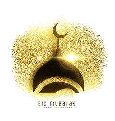 Mosque design on golden glitter eid mubarak vector