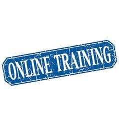 Online training blue square vintage grunge vector