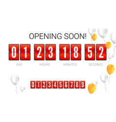 Opening soon analog flip clock timer card with vector