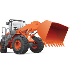 Orange front end loader vector