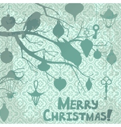 Scrapbooking Christmas card with birds and vector image vector image