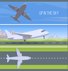 Set of planes up in the sky set vector