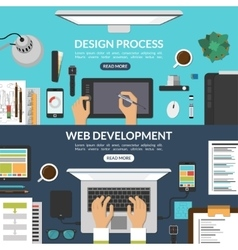 Set of web design and development process banners vector image vector image