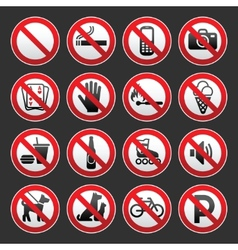 Set prohibited signs on a gray background vector