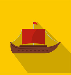 ship ancient icon flat style vector image