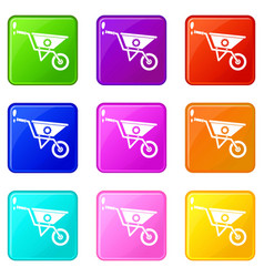 Wheelbarrow set 9 vector