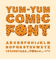 yum yum comic font letters of cookies biscuits vector image vector image
