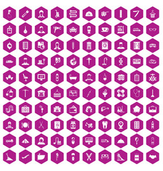100 craft icons hexagon violet vector