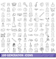 100 generation icons set outline style vector