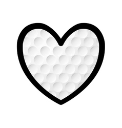 Golf heart ball sport hobby icon graphic vector