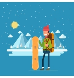 Happy man with a snowboard on a background of vector