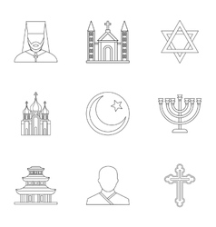 Faith icons set outline style vector