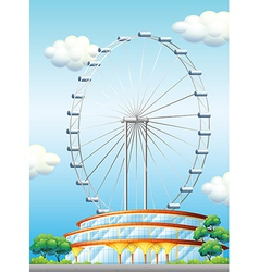 A stadium with a big ferris wheel vector
