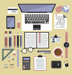 Flat design style  office equipment working vector