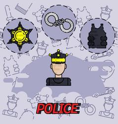 Police flat concept icon vector