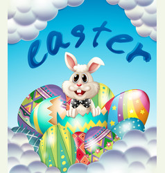 easter card template with bunny and eggs vector image