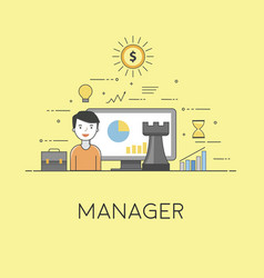 Manager strategy in business and finance digital vector