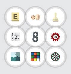 Flat icon play set of lottery mahjong pawn and vector