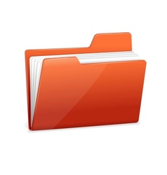 Red file folder with documents vector